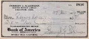 FORREST J ACKERMAN (Railway Express) - Autograph on Check