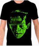 FRANKENSTEIN (Head Bolts-Green) - Black T-Shirt