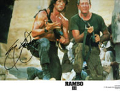 SYLVESTER STALLONE (RAMBO III Lobby Card) - Autograph