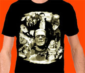 UNIVERSAL MONSTERS COLLAGE (Glows in the dark!) - T-Shirt
