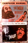 MAN WITHOUT A BODY/FRIGHT- Original Press Book