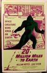 TWENTY MILLION MILES TO EARTH - 14 X 20 Window Card Reproduction